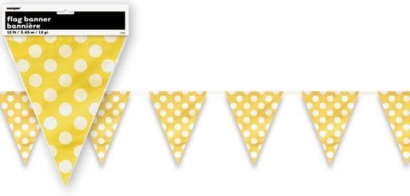 Yellow Polka Dot Flag Pennant Bunting