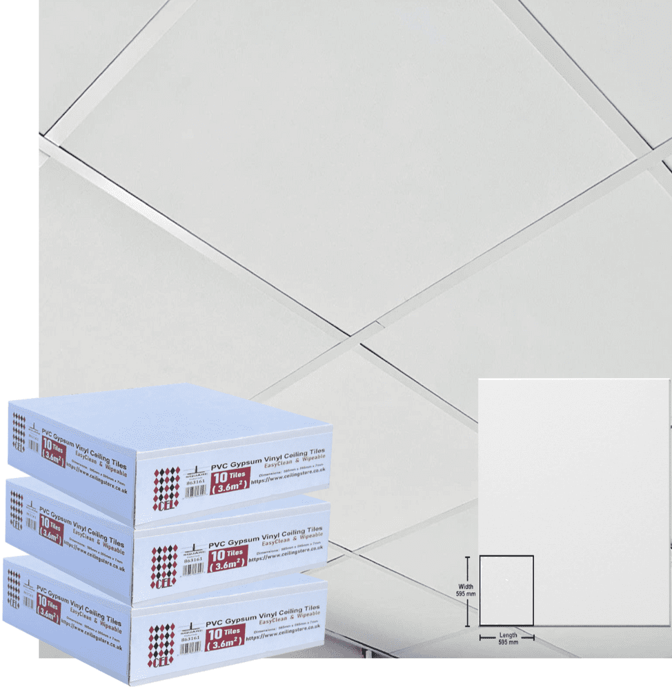 10.8m2 Suspended Ceiling Tiles 600x600 EasyClean and Wipeable 595mm x 595mm x 7mm 30Tiles