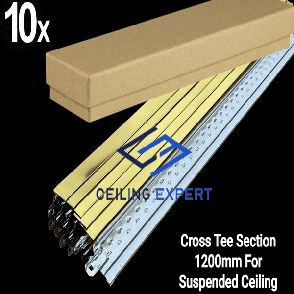 Pack of 10 Gold Cross Tee Section 1200mm x 24mm Bar 1200