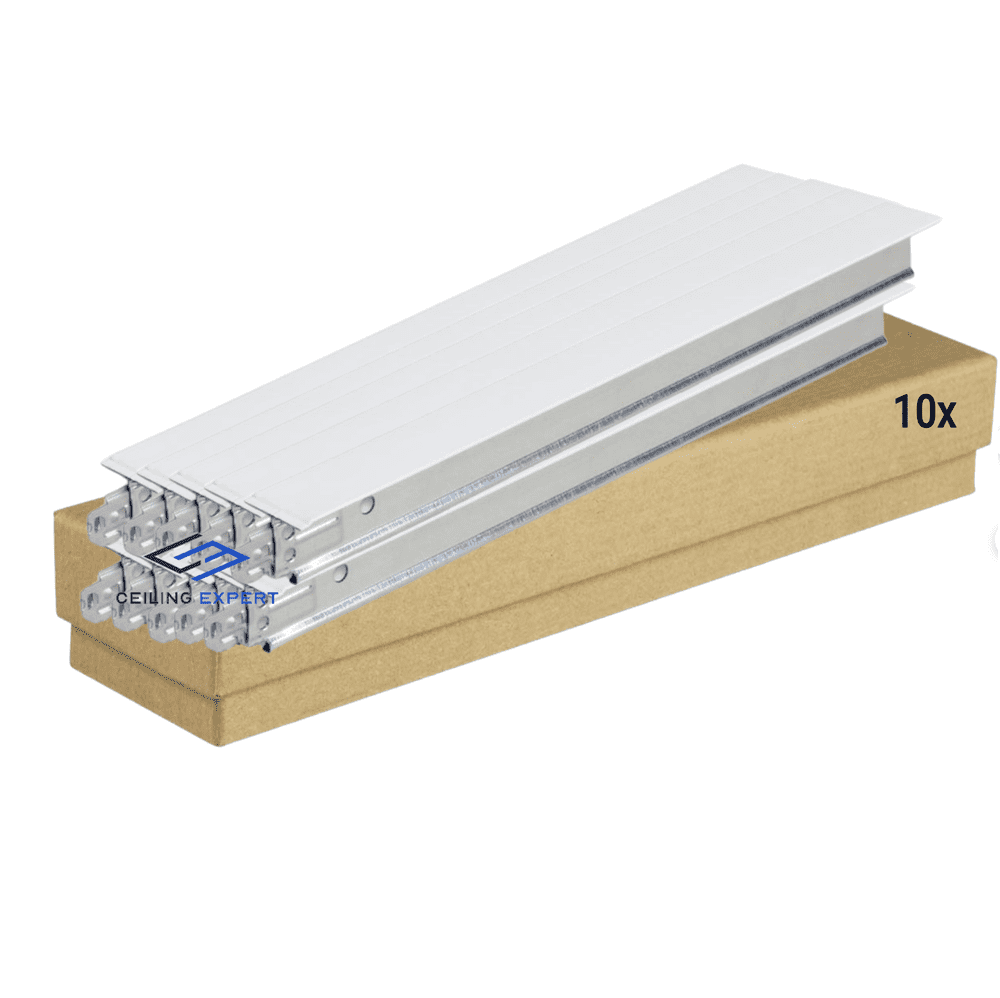 Pack of 10 White Cross Tee Section 600mm x 24mm